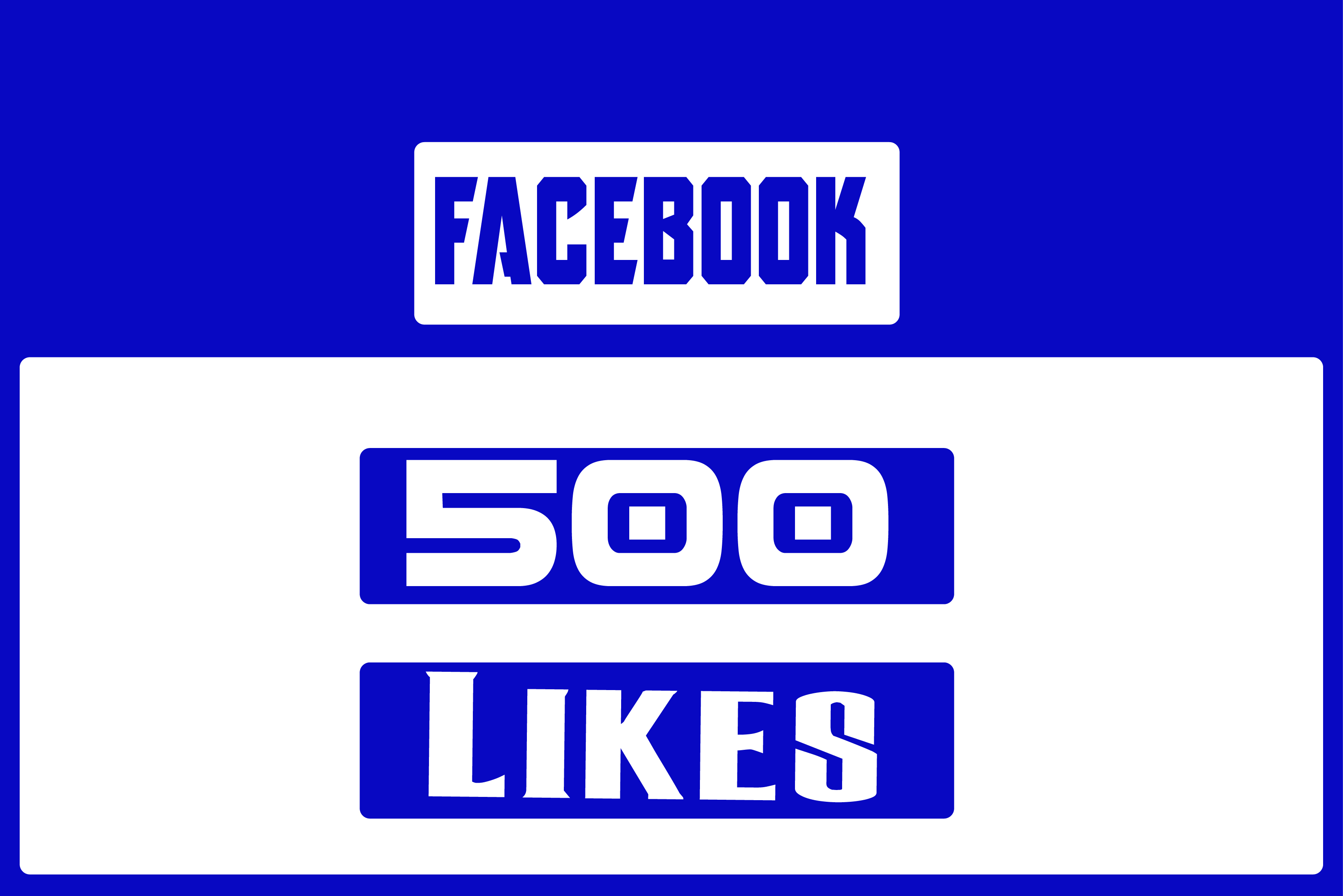 I will Gives you 500 Facebook Likes Real,& Fast Service try it now
