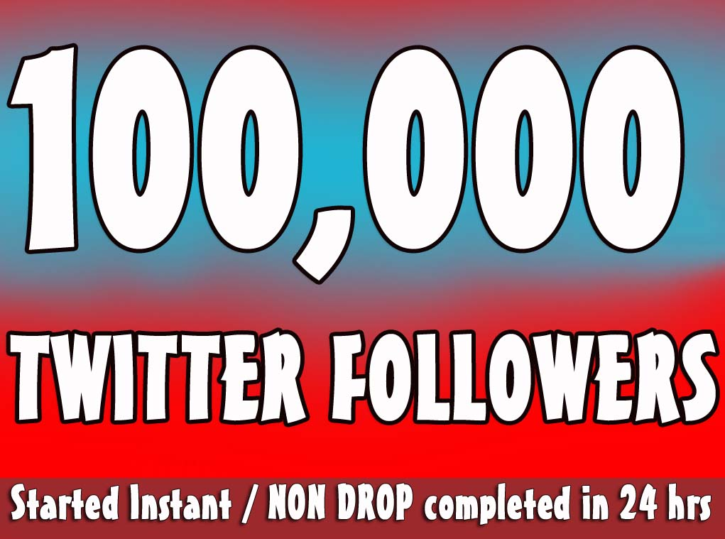 Provide Instantly 100,000+ Permanent Twitter Followers Within 48 Hours