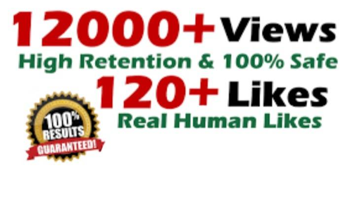 Get 12,000 HIGH QUALITY YouTube Video Views ans 120 likes