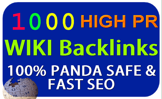 provide high PR 1000 wiki backlinks,to website improving Website rankings