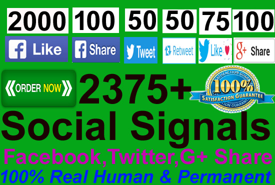 Do manually build 2375 SEO Real Social Signals