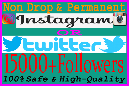 give you 15K Real Instagram OR Twitter Followers