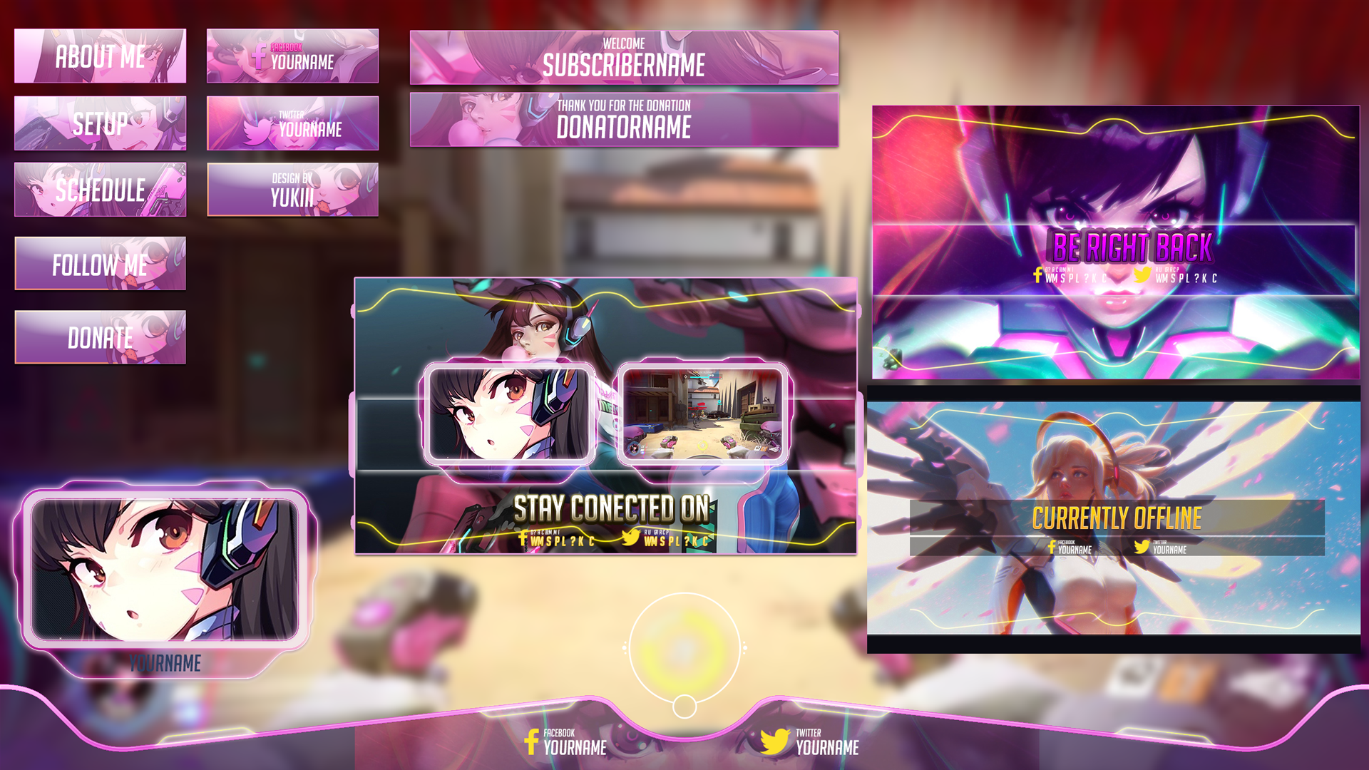 Create Customized twitch overlay  ,panels and banners for your twitch channel
