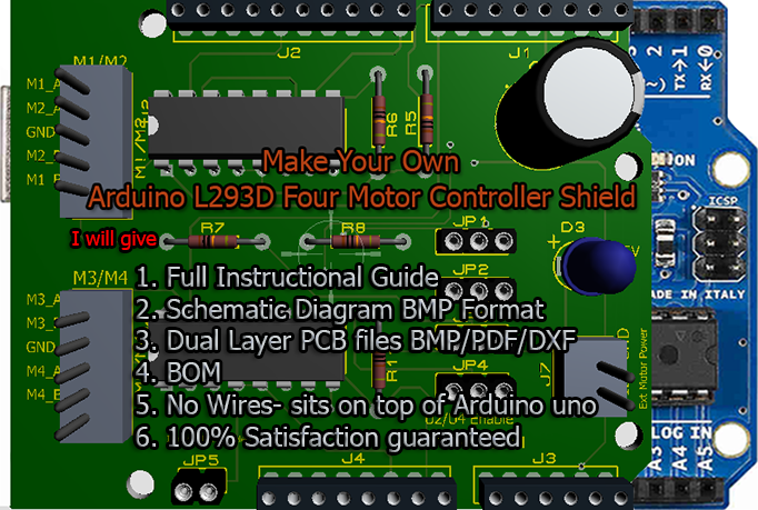 deliver full instructional guide for  Predesigned Arduino Motor Controller(Four Motors) Shield and Schematic/PCB (printed circuit board) design.