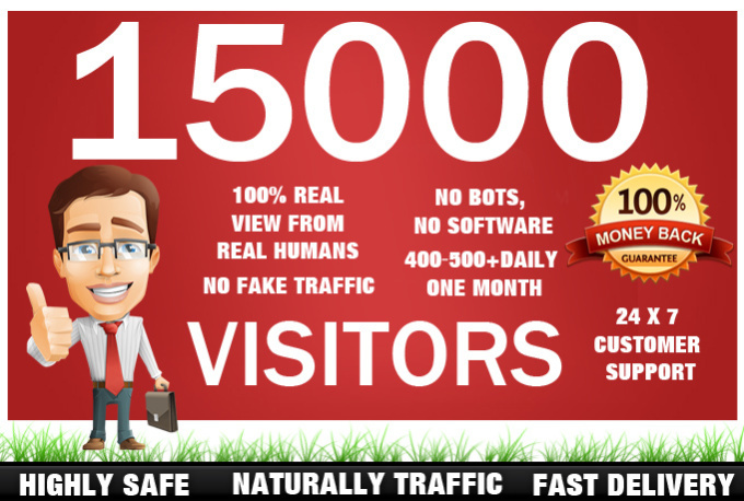 give 15,000 real human traffic to your site