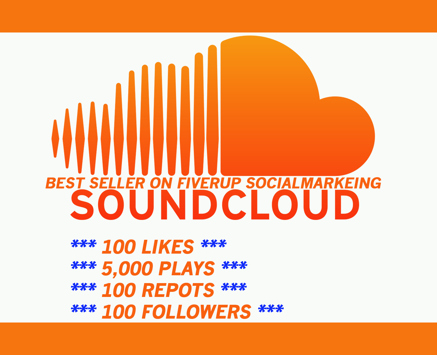 5,000 SOUNDCLOUD PLAYS with  100 likes, 100 Reposts and 100 followers