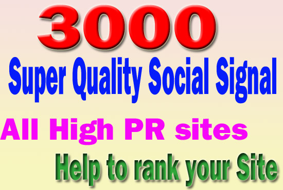 3000 Social Signals white hat seo backlinks to social field