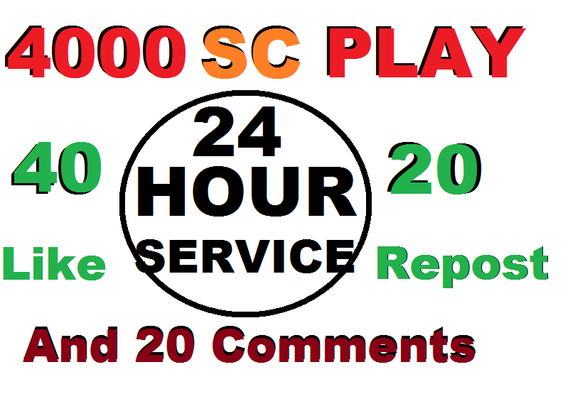 4000 Soundcloud plays 40 like 20 repost and 20 comments within 24 hour