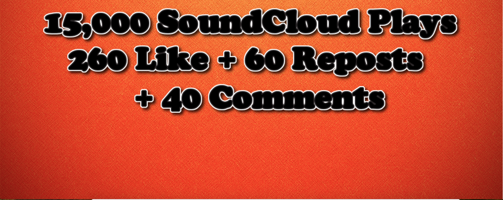 15,000 Plays + 260 SoundCloud Like + 60 Reposts + 40 Comments