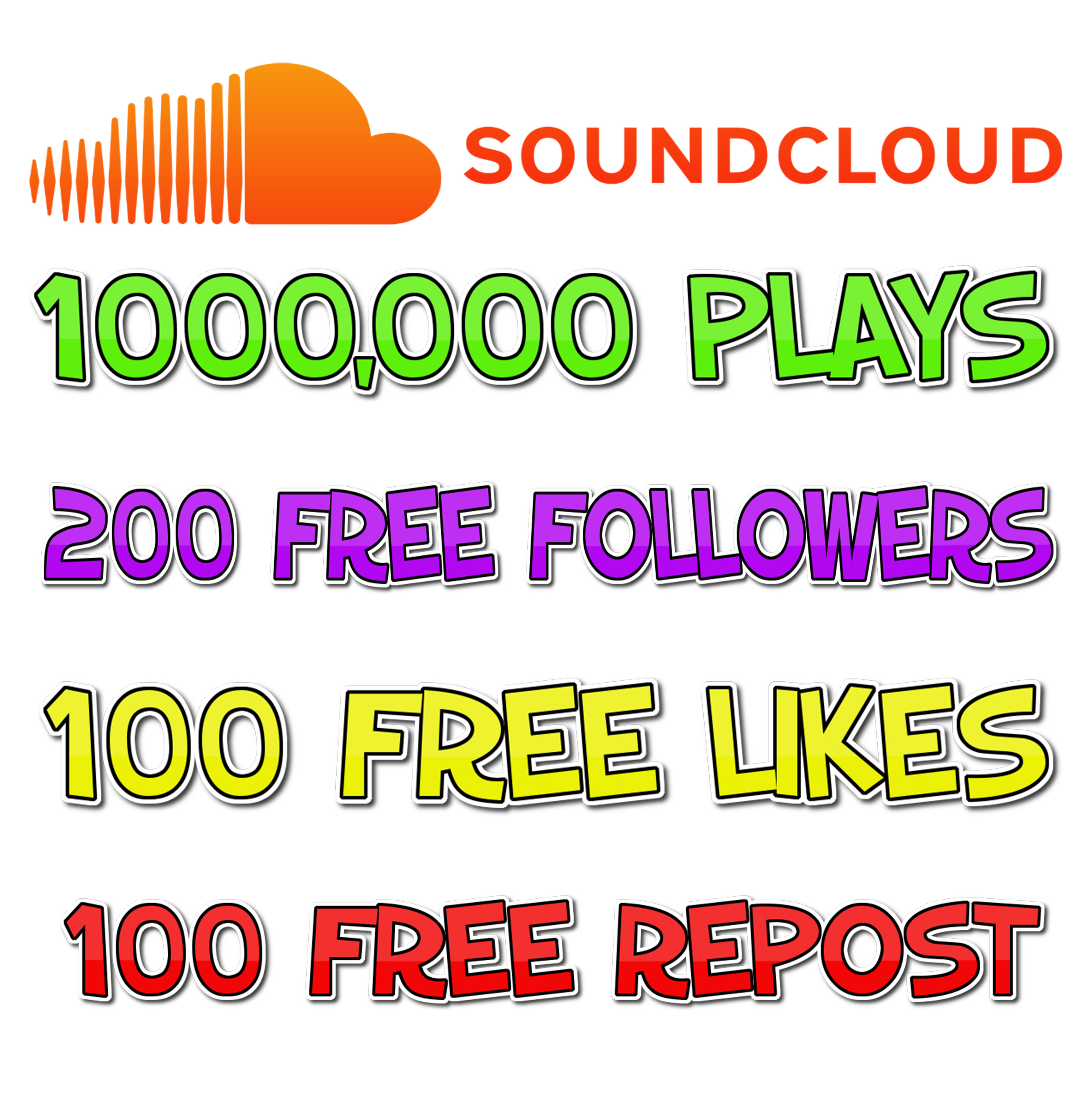 Provide You 1 MILLION SOUNDCLOUD Plays with free 200 Followers, 100 likes and 100 reposts