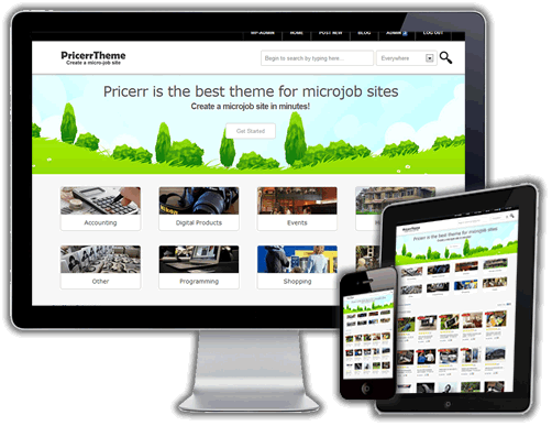 will give you a microjobs theme for wordpress