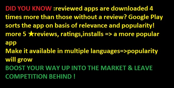 write unlimited relevant 5 star app reviews to boost traffic to your app