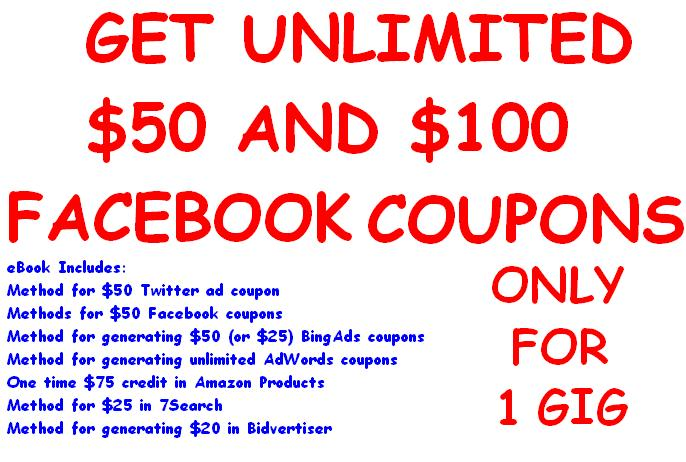 give 100 USD Facebook coupons generating method