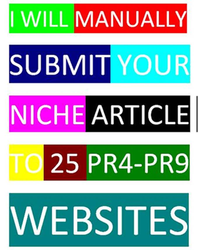 MANUALLY SUBMIT YOUR ARTICLE TO 25 PR4-PR9 WEBSITES