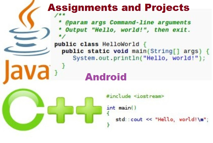 do java,C++,android projects,assignments and quizzes for you.