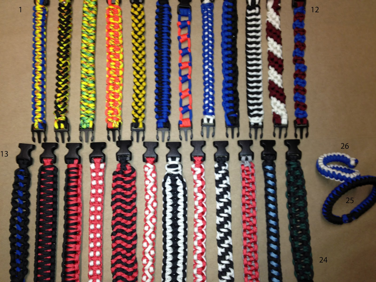 Paracord/survival Bracelet, multiple styles and options