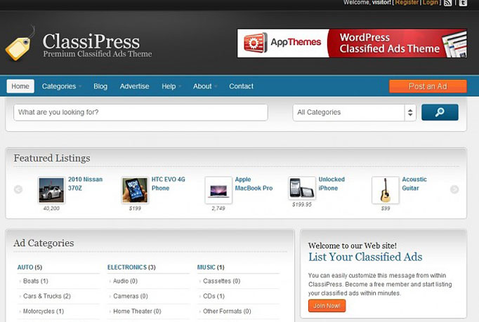 build classified ads website using the latest ClassiPress theme