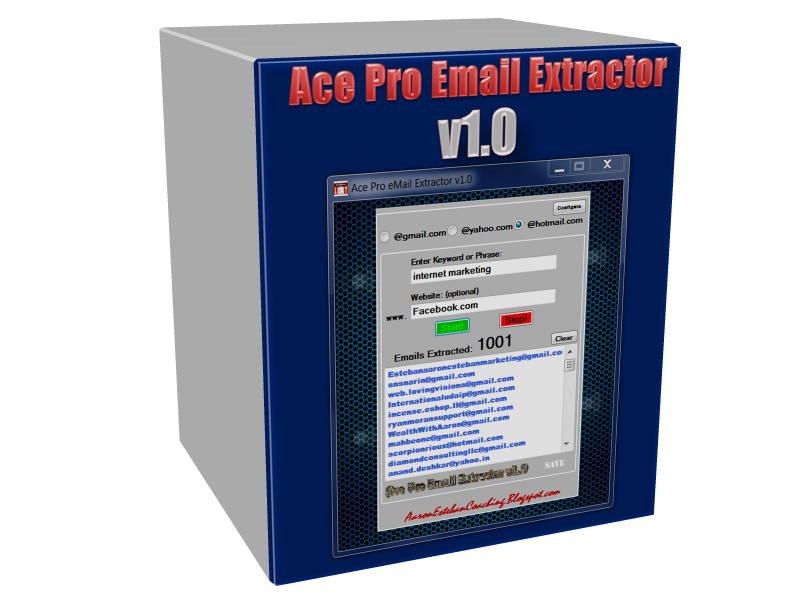 ace Pro Email Extractor you can use to extract 100 to 500 addresses a Day