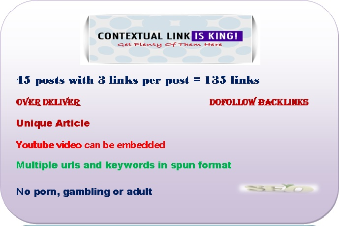 help Your Rankings with 135 Dofollow Contextual Links on 45 WP Blogs