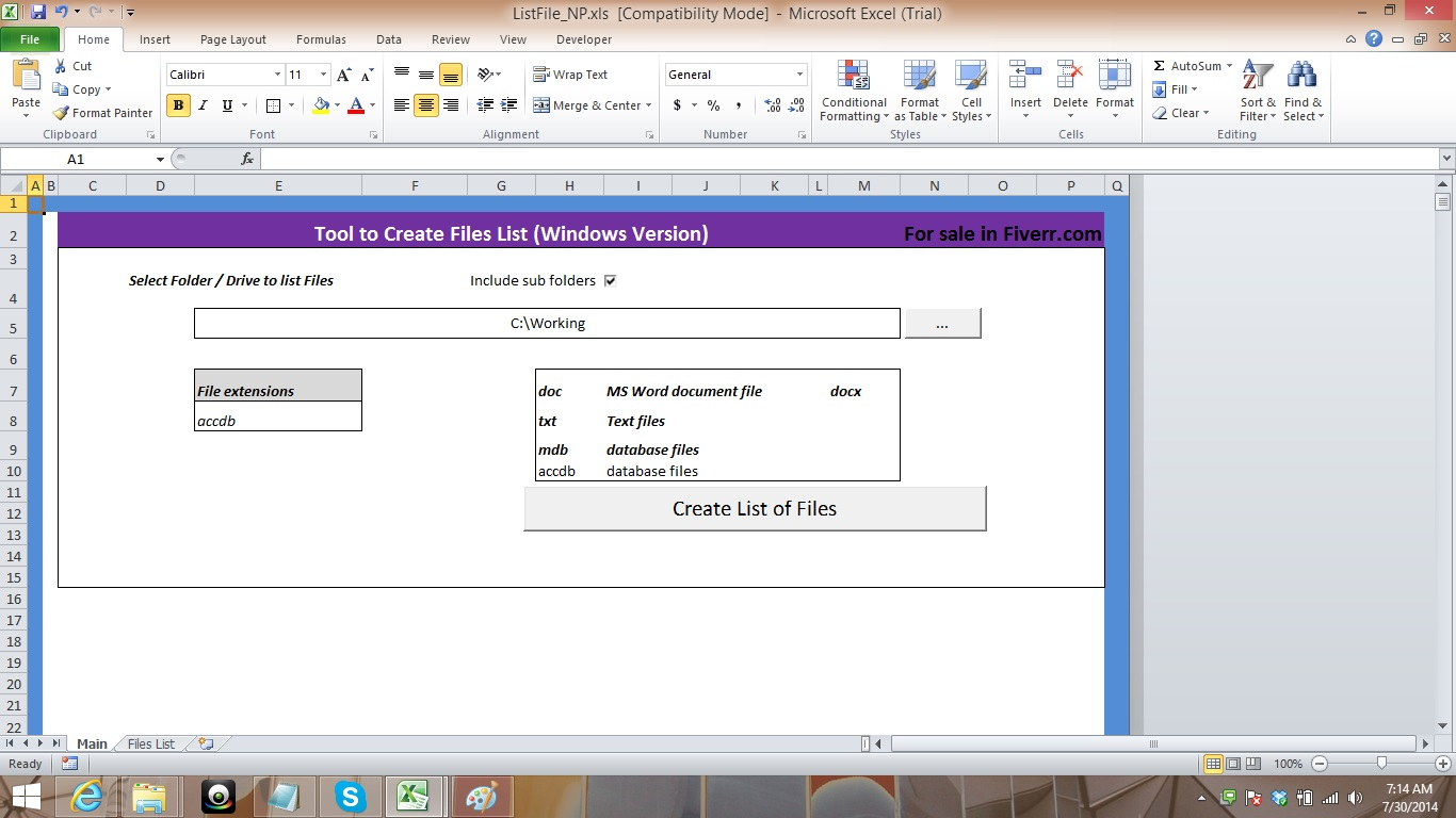 Provide Excel software to list files in Folders