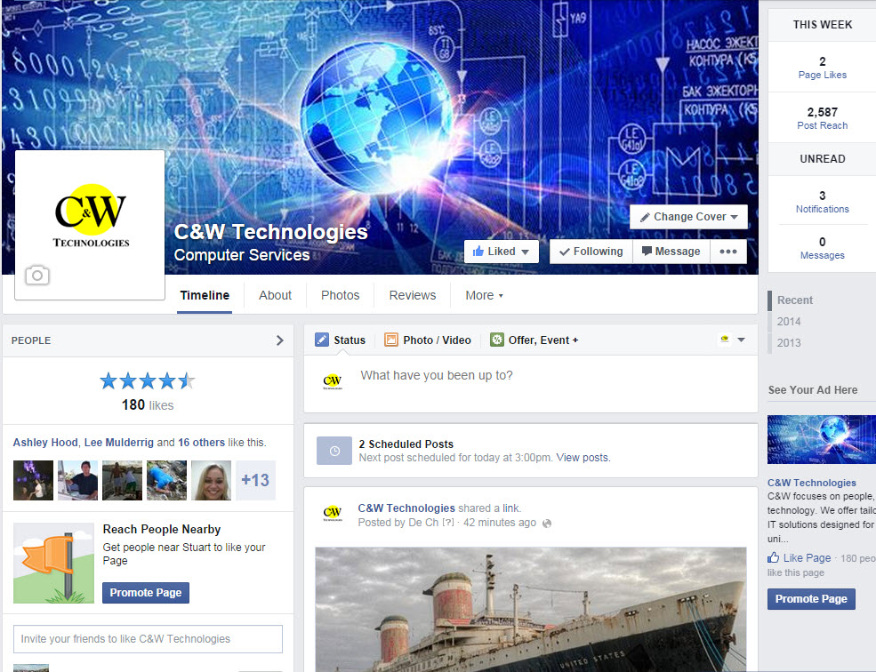 manage your company's facebook page