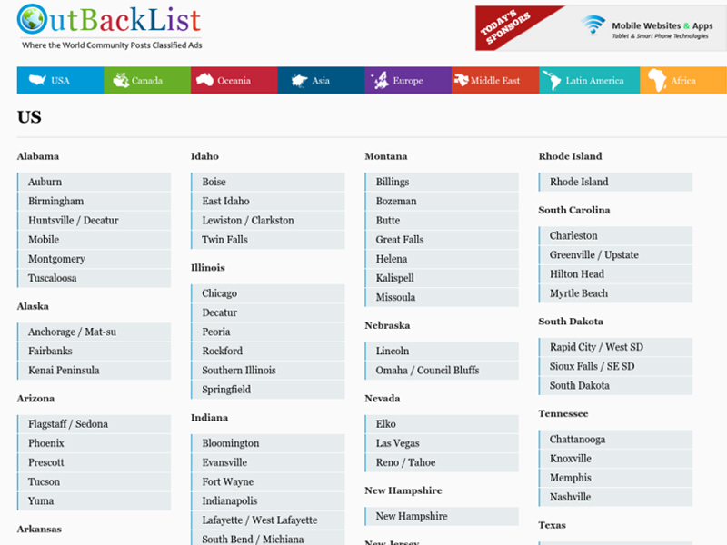 post ads in all US cities on Outbacklist