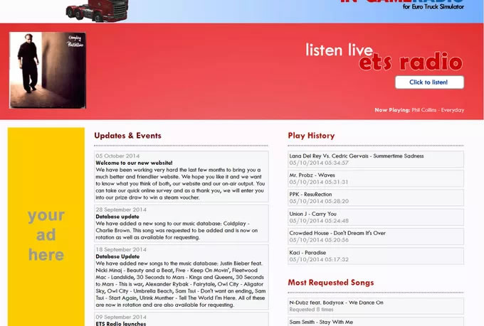 place your banner on ETS Radio, 37000 hits a month