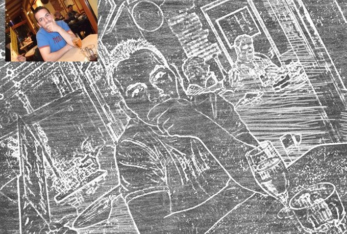 Convert 5 photos or text into a chalk drawing