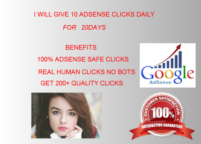 give 10 adsense clicks daily for 20days