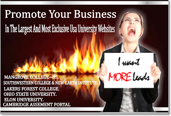 promote your business to the largest and most exclusive USA University Websites