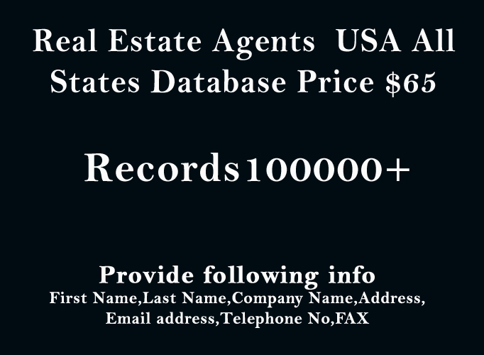 provide you USA 100000+ Real Estate Agents contact Database
