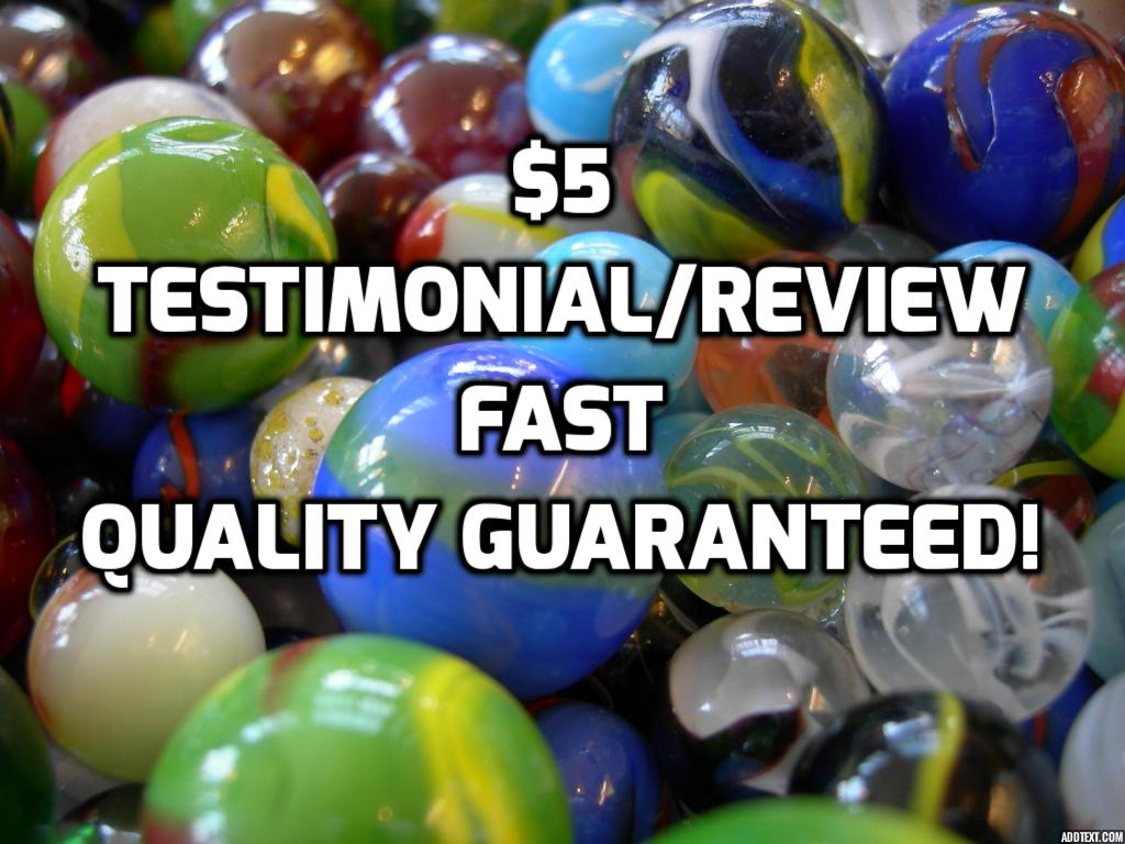 write a testimonial for your product/service