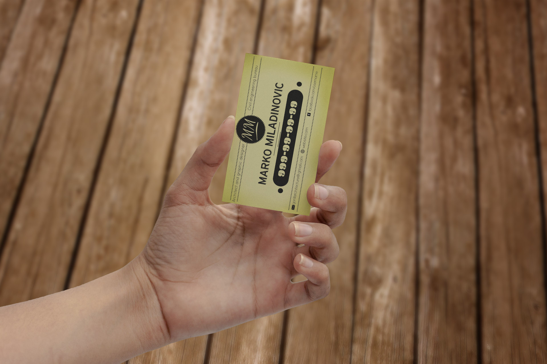 make 3 hand mock ups with your bussines card