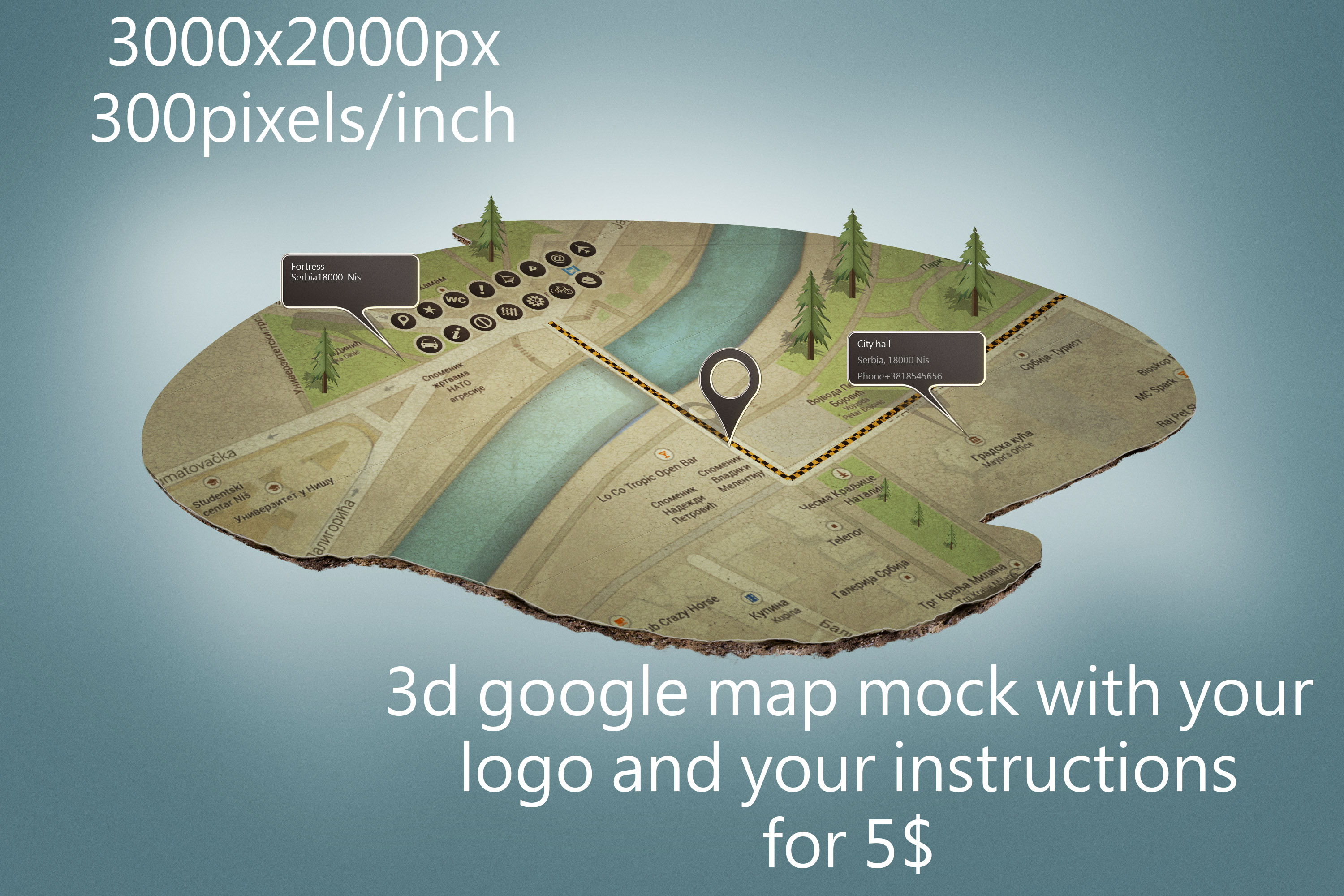 make 3d google map mock up with your logo