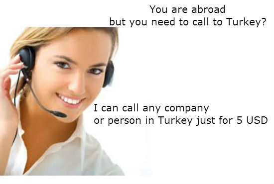 make a call to any Turkish company or a person