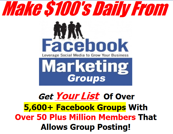 Give You List  Of Over  5,600+ Facebook Groups With  Over 50 Plus Million Members That  Allows Group Posting!