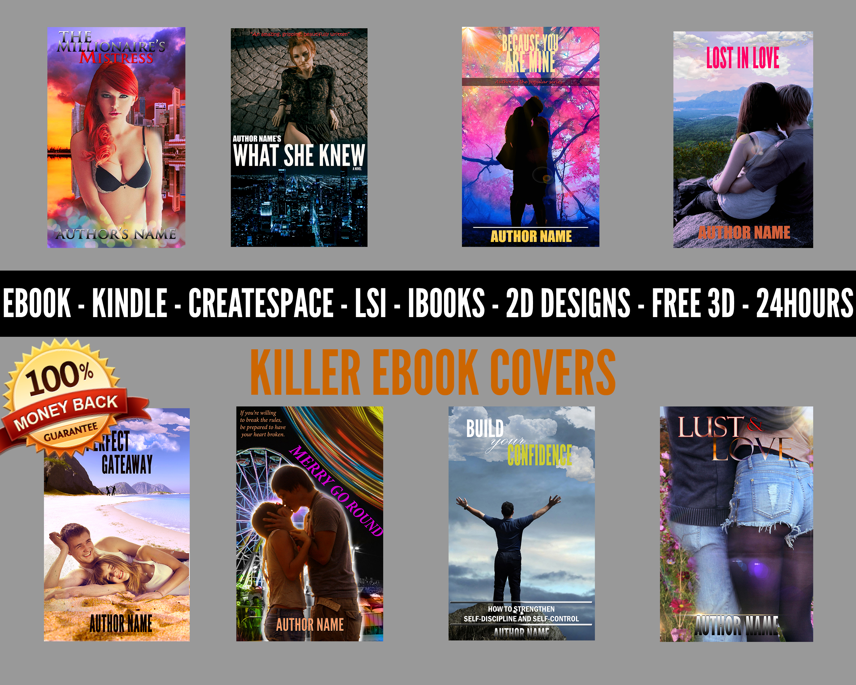 design a Professional Ebook cover, Kindle, createspace