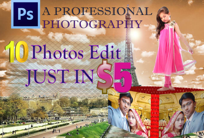 do any photoshop job and 10 photos edit