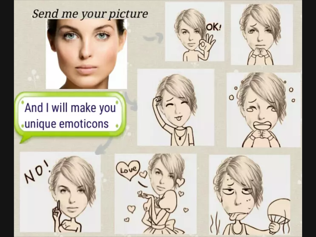 create 20 unique emoticon and emoji using your picture