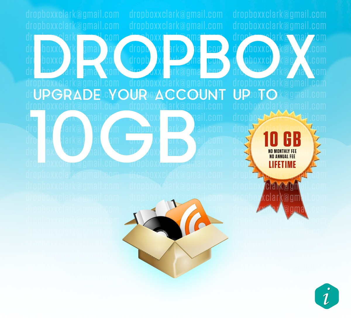 upgrade your Dropbox Account with 10GB lifetime space