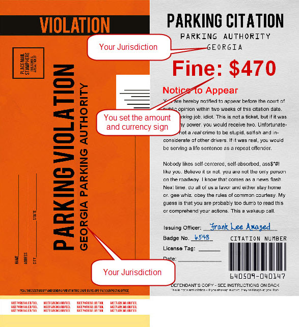 Fake Parking Tickets - Prank Gag Friends & Neighbors + Zero Dollar