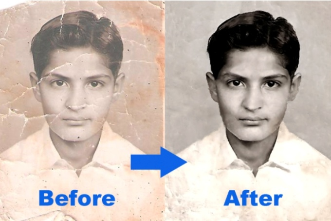 restore and colorize old damaged photos