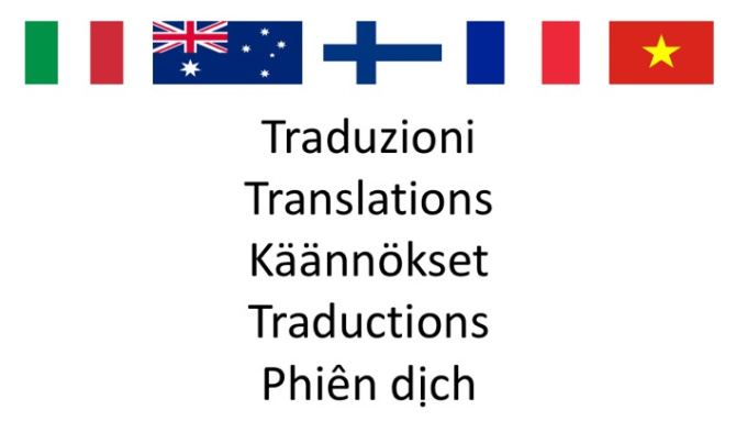 translate between Italian, English, Finnish, French and Vietnamese