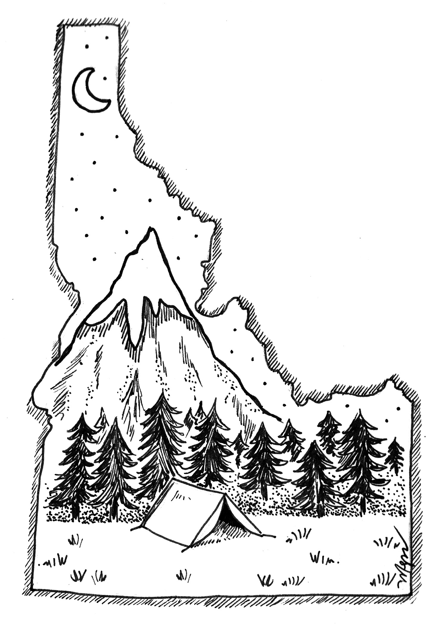 draw an original pen-and-ink illustration