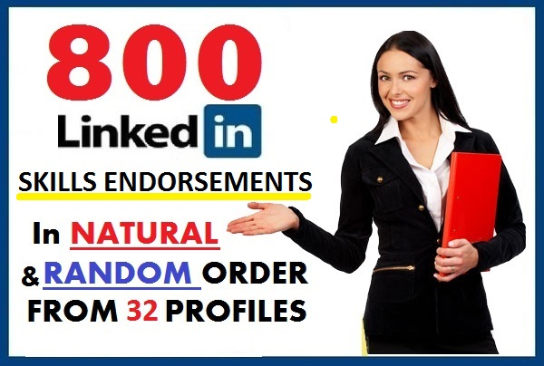 Give 800 LinkedIn Skills Endorsements in Random Order from 32 Profiles
