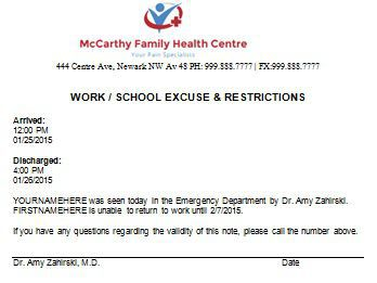customize a doctor's note to excuse skipped school days