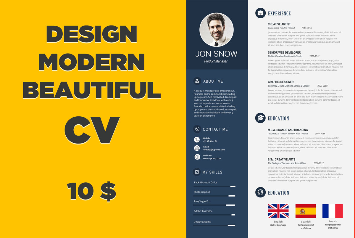 design a beautiful and modern CV for you