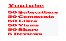 Youtube 50 Subscribers+50 Comments+50 Likes+50 Views+50 Share+5 Reviews,Lifetime Guaranteed Verified Customer Active User