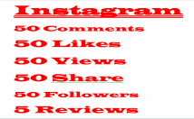 Instagram 50 Comments+50 Likes+50 Views+50 Share+50 Followers+5 Reviews,Lifetime Guaranteed Verified Customer Active Users