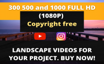send 300 full HD copyright free landscape videos for youtube channel